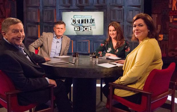Fr Brian D'Arcy, host Brendan O'Connor, Mairead Ronan and Alison O'Connor on Cutting Edge, RTE One