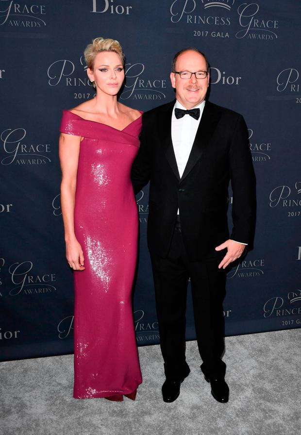 Prince Albert II of Monaco and Princess Charlene attend the 2017 Princess Grace Awards Gala at The Beverly Hilton Hotel, Beverly Hills, California on October 25, 2017. / AFP PHOTO / Mark RALSTONMARK RALSTON/AFP/Getty Images