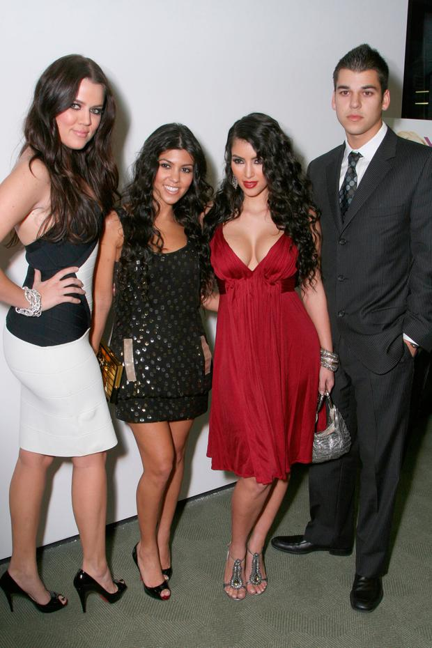 Khloe, Kourtney, Kimberly and Robert Kardashian arrive at the premiere of t