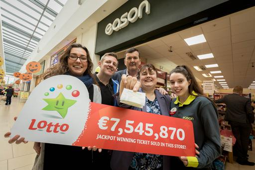 From left: Store manager, Deirdre O'Toole; staff, Tadhg Delaney; owner, Tom O'Toole; National Lottery rep, Mary Grace and staff, Katie O'Brien, pictured at the Easons Lotto store in Thurles. Picture: Dylan Vaughan