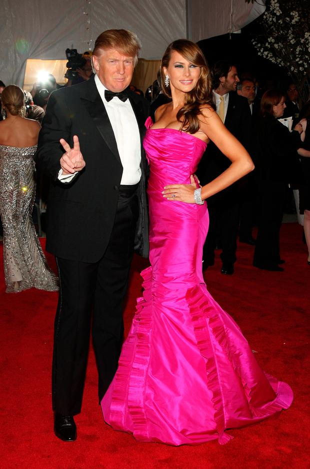 Donald Trump and wife Melania arrive at the Metropolitan Museum of Art Costume Institute Gala, Superheroes: Fashion and Fantasy, held at the Metropolitan Museum of Art on May 5, 2008 in New York City. (Photo by Stephen Lovekin/Getty Images)