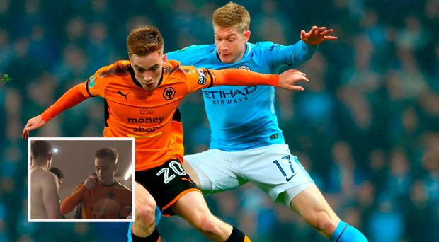 Connor Ronan and Kevin de Bruyne battle for the ball and (inset) they swap jerseys