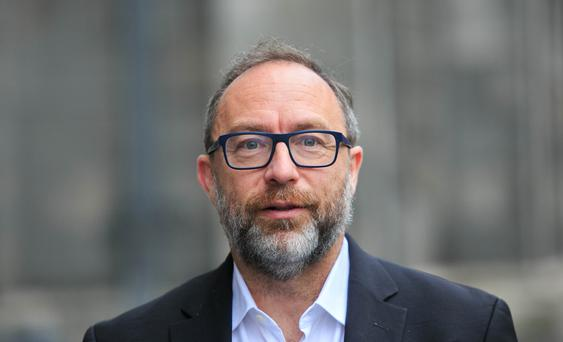 Jimmy Wales, founder of Wikipedia during a vist to The Philosophical Society at Trinity College Dublin. Photo: Gareth Chaney Collins