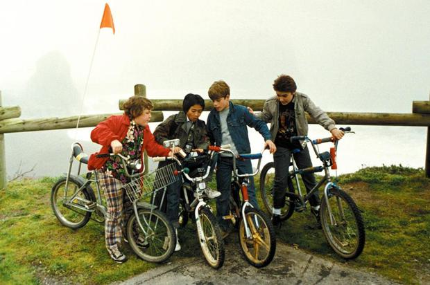 The Goonies on their bikes