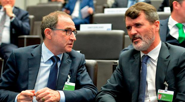 Republic of Ireland Manager Martin O'Neill and Assistant Manager Roy Keane. Photo: Gonzalo Garcia/Sportsfile