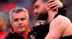 Mayo manager Stephen Rochford consoles Aidan O'Shea after their defeat to Dublin in this year's All-Ireland SFC final. The pair will be key figures in the county's quest to end their long wait for Sam Maguire. Photo: Sportsfile