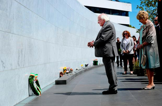 President Michael D Higgins laid a wreath at the wall in Canterbury Earthquake National Memorial. Photo: Maxwells