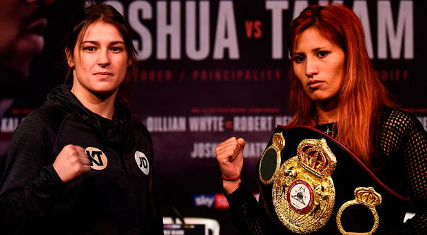 Katie Taylor and Anahi Sanchez square off during the Anthony Joshua and Carlos Takam press conference in Cardiff. Photo: Sportsfile