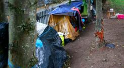 Tents where homeless people live along The Royal Canal in Dublin. Photo: Colin O'Riordan