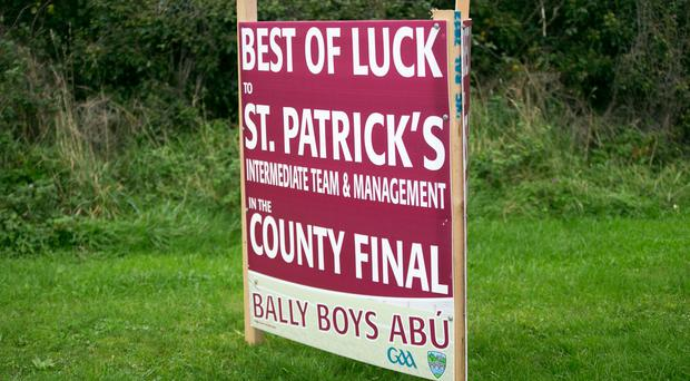 A sign wishing the St Patrick's team good luck in their hurling county final. Photo: Mark Condren