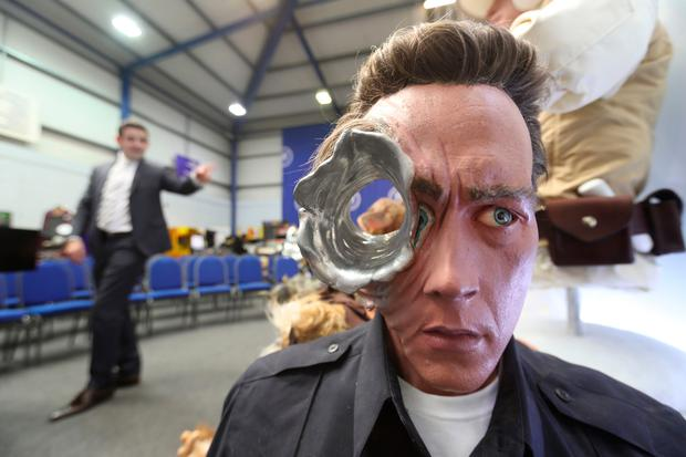 A Terminator 2 movie replica bust among items seized from a drug lord behind a cannabis factory in a nuclear bunker, which are to be auctioned at Wilsons Auctions in Mallusk Co Antrim. PRESS ASSOCIATION Photo. Picture date: Thursday October 26, 2017. Photo credit should read: Niall Carson/PA Wire