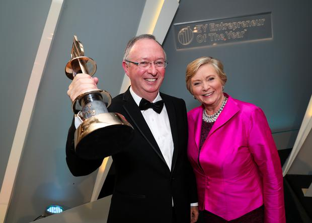 Winner of the EY Entrepreneur Of The Year 2017 Harry Hughes, CEO of Portwest and Tánaiste Frances Fitzgerald