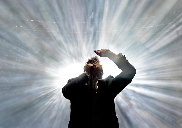 Musician James Murphy of LCD Soundsystem performs onstage