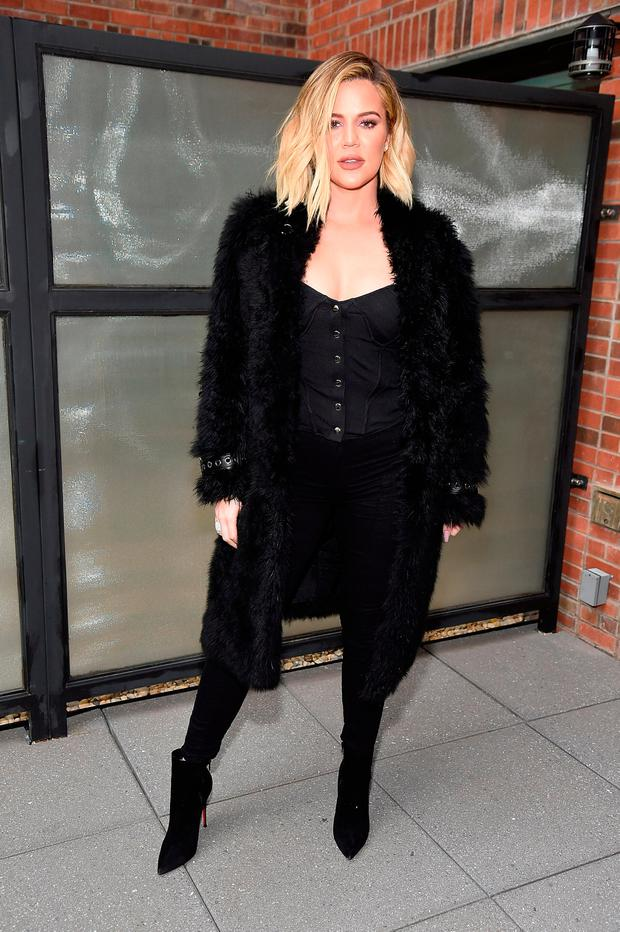 Khloe Kardashian attends Good American press luncheon with Emma Grede at Arlo Soho on October 26, 2017 in New York City. (Photo by Kevin Mazur/Getty Images for Good American)
