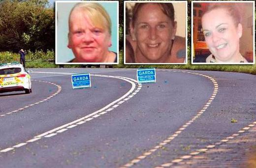 Accident victims pictured (l-r); Margaret McGonagle, Racheal Cassidy Battles and Mairead Mundy
