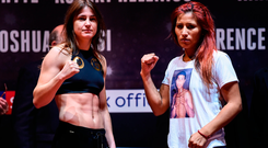Katie Taylor, left, and Anahi Sanchez after weighing in