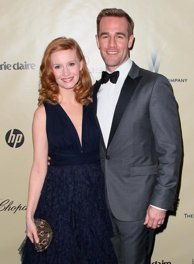 Actor James Van Der Beek (R) and wife Kimberly Van Der Beek attend The Weinstein Company's 2013 Golden Globe Awards After Party at The Beverly Hilton hotel on January 13, 2013 in Beverly Hills, California. (Photo by David Livingston/Getty Images)