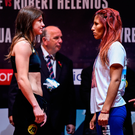 Katie Taylor and Anahi Sanchez after weighing in