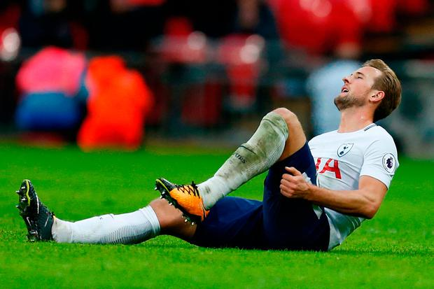 Harry Kane picked up a hamstring injury against West Ham which rules him out of today's game against Manchester United. Photo: Getty Images