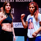 Katie Taylor, left, and Anahi Sanchez after the weighing in. Photo: Sportsfile