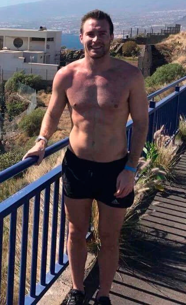 Then...Stephen Scullion at a warm-weather camp in Tenerife back in February when he weighed in at 83kg compared to his current 68kg