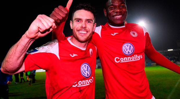 John Russell, left, and Benny Ighenion of Sligo Rovers celebrate