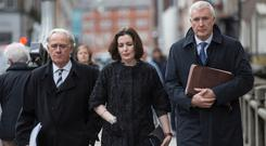 Bank of Ireland chief executive Francesca McDonagh arrives with officials this week for a meeting with Finance Minister Paschal Donohoe. Photo: Mark Condren