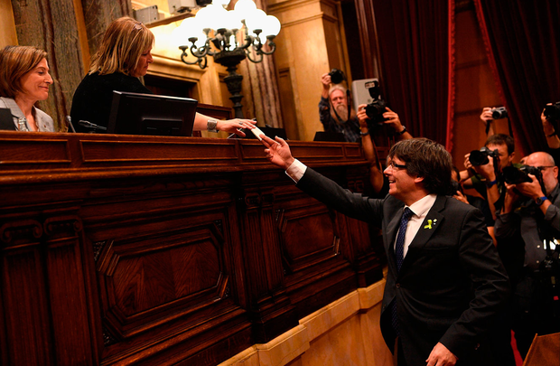 Catalan president Carles Puigdemont casts his vote for independence from Spain . Photo: David Ramos/Getty Images.