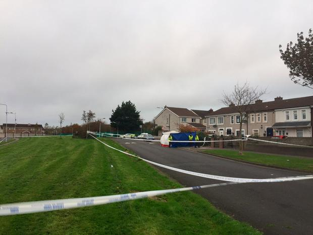 The scene of a shooting on Moatview Avenue, Coolock this morning