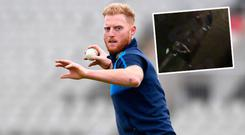 Ben Stokes and (inset) the incident was captured on camera