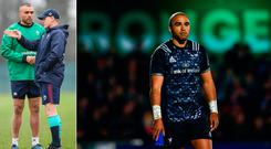 Simon Zebo in action against Munster and (left) with Ireland coach Joe Schmidt