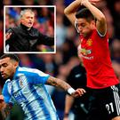 Herrera in action against Huddersfield and (inset) Mourinho