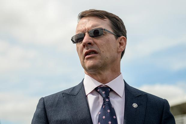 Trainer Aidan O'Brien after sending out Elizabeth Browning and Seamie Heffernan to win the Kilboy Estate Stakes during Day 2 of the Darley Irish Oaks Weekend at the Curragh in Kildare. (Photo By Cody Glenn/Sportsfile via Getty Images)