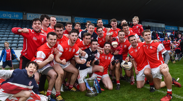 Cuala players celebrate after the Dublin County Senior Club Hurling Championship Final match between Cuala and Kilmacud Crokes at Parnell Park in Dublin. Photo by Matt Browne/Sportsfile