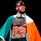 Conor McGregor at the weigh-in for his Floyd Mayweather Jr fight in Las Vegas. Photo: Stephen McCarthy/Sportsfile