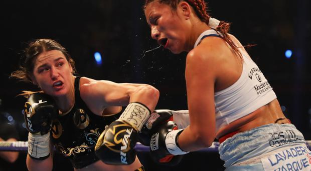 CARDIFF, WALES - OCTOBER 28: Katie Taylor (L) and Anahi Sanchez in action during their WBA Lightweight World Championship contest at Principality Stadium on October 28, 2017 in Cardiff, Wales. (Photo by Richard Heathcote/Getty Images)