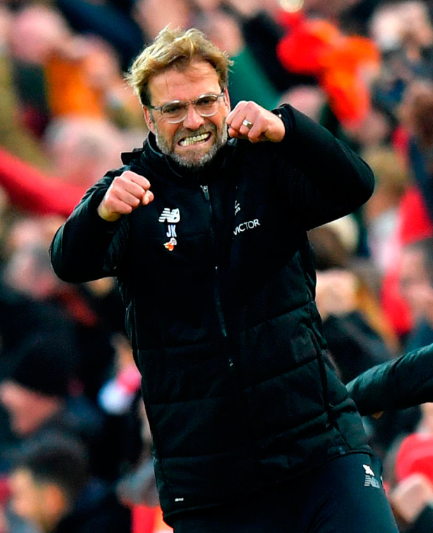 Liverpool manager Jurgen Klopp celebrates his side's third goal of the game at Anfield. Photo: Dave Howarth/PA