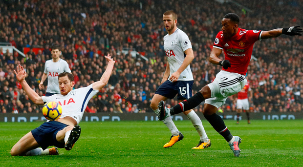 Anthony Martial scores the winning goal against Tottenham to give Manchester United a valuable victory at Old Trafford. Photo: Reuters/Jason Cairnduff