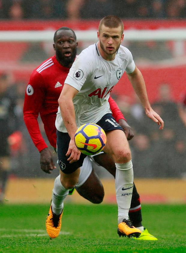 Tottenham's Eric Dier in action with Manchester United's Romelu Lukaku. Photo: Jason Cairnduff/Reuters