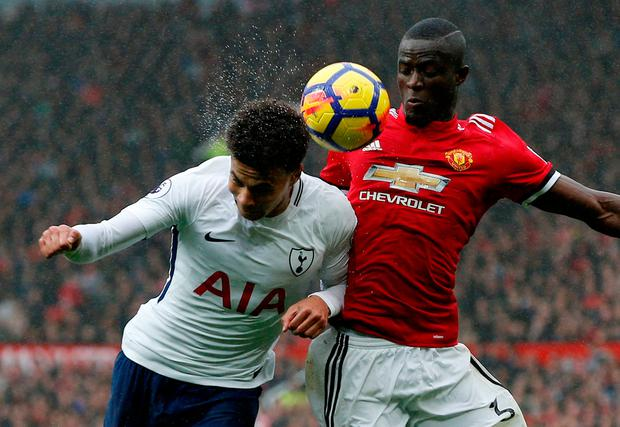 Tottenham's Dele Alli battles for the ball with Manchester United's Eric Bailly. Photo: Andrew Yates/Reuters