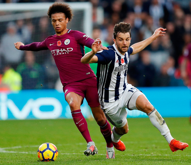 Manchester City's Leroy Sane in action against West Bromwich Albion's Jay Rodriguez. Photo: Andrew Boyers/Reuters