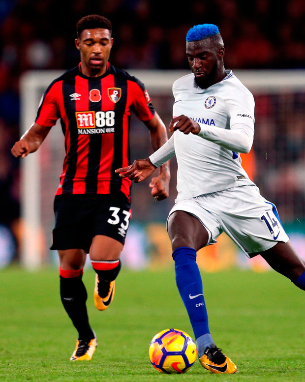Chelsea's Tiemoue Bakayoko (right) and AFC Bournemouth's Jordon Ibe during the match at the Vitality Stadium. Photo: Steven Paston/PA