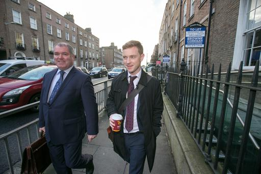 Independent News and Media (INM) journalist Philip Ryan (right) and solicitor Kieran Kelly. Photo: Mark Condren