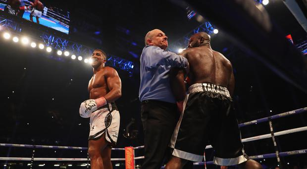Referee Phil Edwards steps in to stop the fight in the 10th round to hand victory to Anthony Joshua (white trunks) during the IBF, WBA & IBO Heavyweight Championship contest against holds Carlos Takam (black trunks) at Principality Stadium on October 28, 2017 in Cardiff, Wales. (Photo by Richard Heathcote/Getty Images)