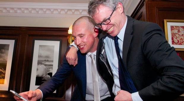 2014 All Ireland winner Kieran Donaghy with former Derry All Ireland winner Joe Brolly at a fundraiser to help purchase and start work on the Nuns Field at the Austin Stacks GAA Club