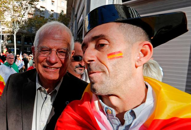 Spanish politician Josep Borrell takes part in a pro-unity demonstration in central Barcelona, Spain, October 29, 2017. REUTERS/Yves Herman