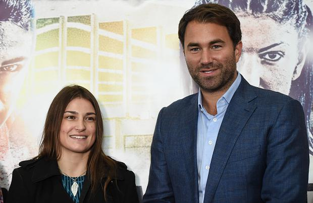 Promoter Eddie Hearn, right, and boxer Katie Taylor during a press conference at City Hall in Dublin. (Photo By Stephen McCarthy/Sportsfile via Getty Images)