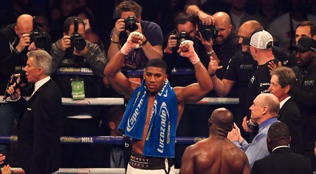 Anthony Joshua celebrates victory after a 10th round stoppage during the IBF, WBA & IBO Heavyweight Championship contest against Carlos Takam at Principality Stadium on October 28, 2017 in Cardiff, Wales. (Photo by Stu Forster/Getty Images)