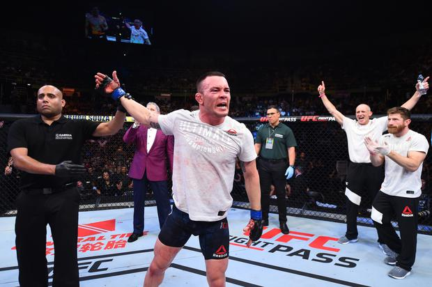 Colby Covington celebrates after defeating Demian Maia of Brazil in their welterweight bout during the UFC Fight Night event inside the Ibirapuera Gymnasium on October 28, 2017 in Sao Paulo, Brazil. (Photo by Josh Hedges/Zuffa LLC/Zuffa LLC via Getty Images)