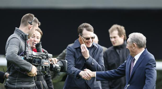 Trainer Aidan O'Brien is congratulated after equaling the record for 25 Group 1 winners in a season at Ascot racecourse on QIPCO British Champions Day on October 21, 2017 in Ascot, United Kingdom. (Photo by Alan Crowhurst/Getty Images)